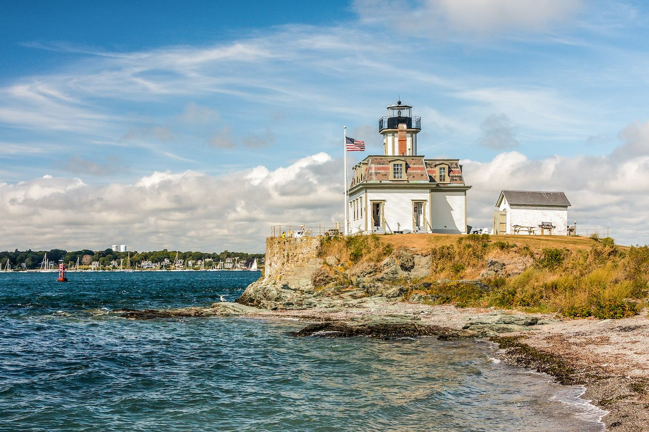 Rose Island Lighthouse in New England to stay the night