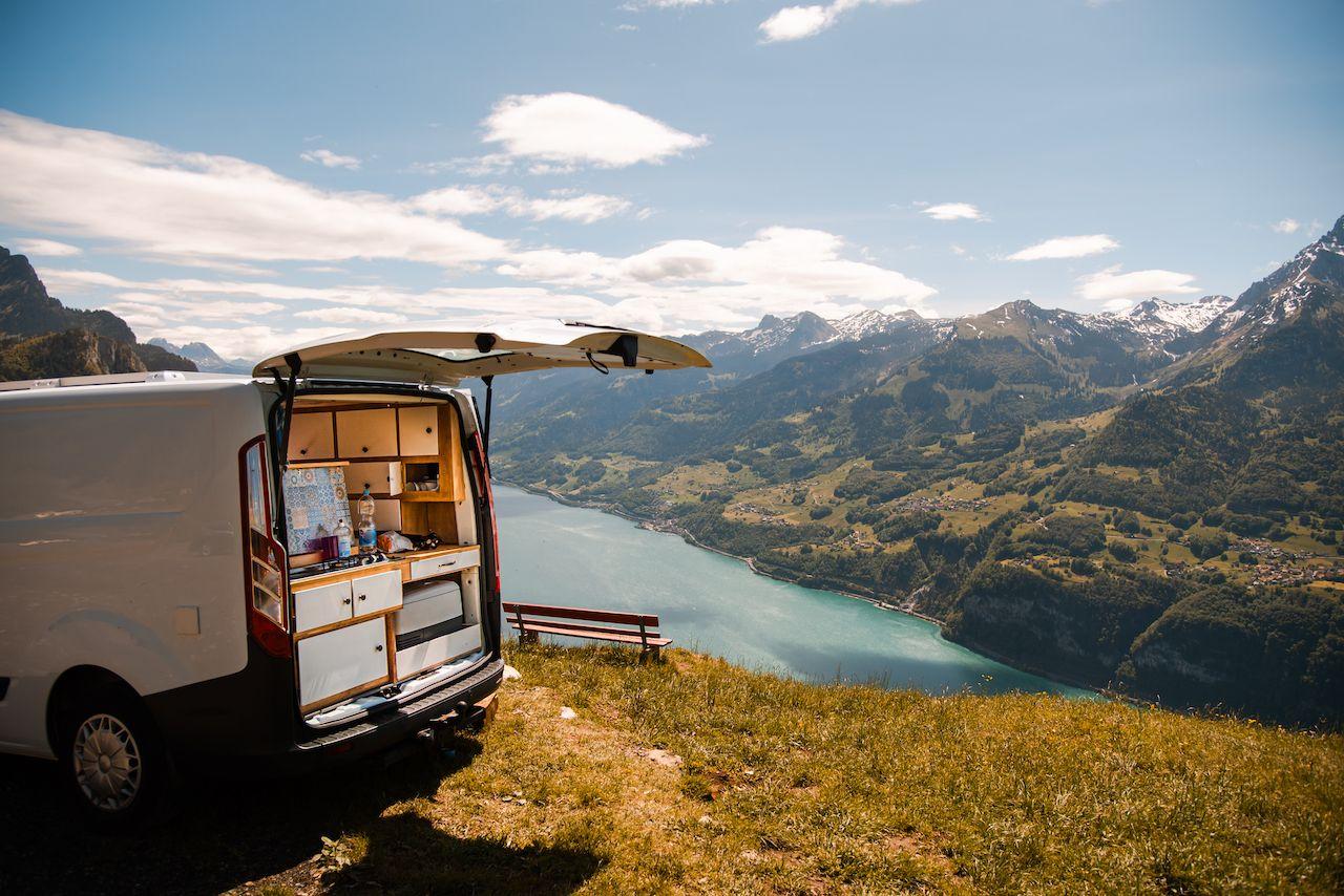 Van on a mountain in Switzerland