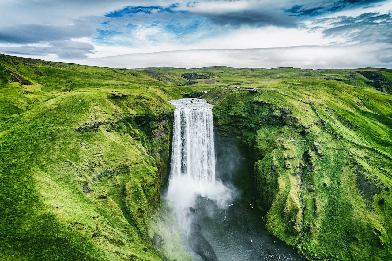 Waterfall in Iceland for vaccinated travelers