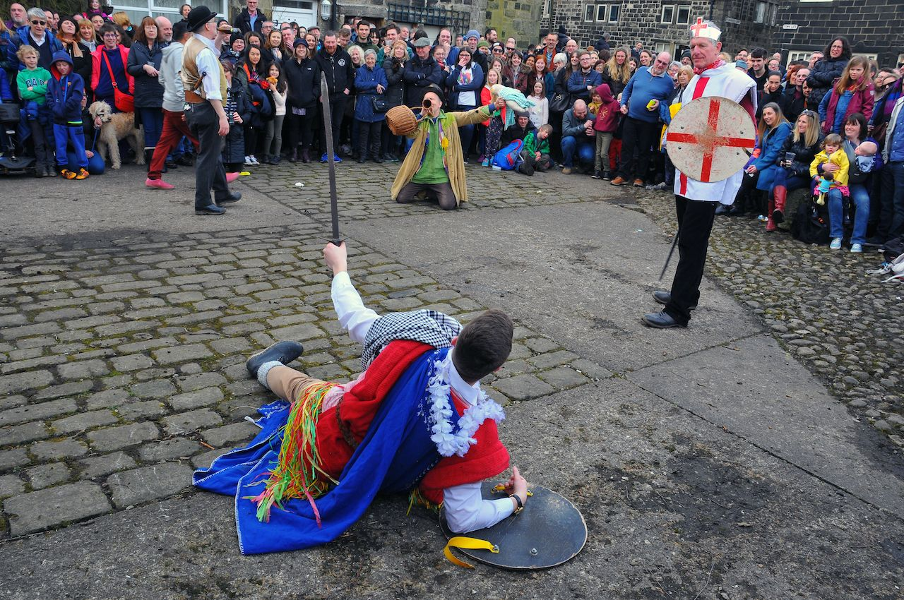 Actors in a scene from the traditional good friday pace egg play