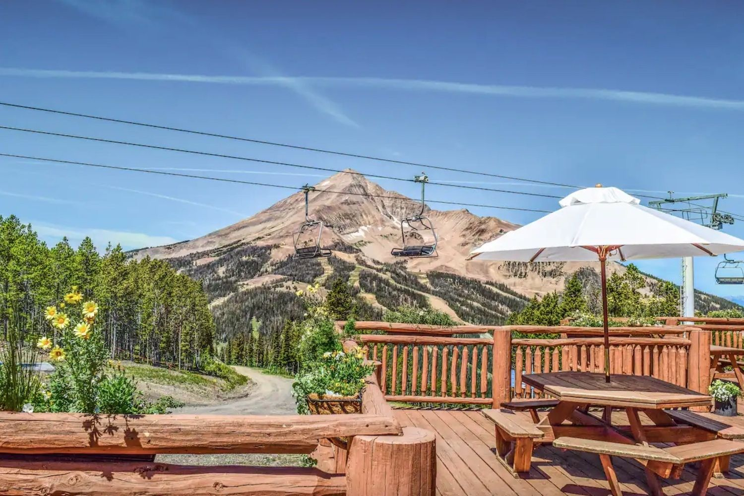 Airbnb Andesite Mountain in Big Sky, Montana deck view, airbnb montana mountain stay