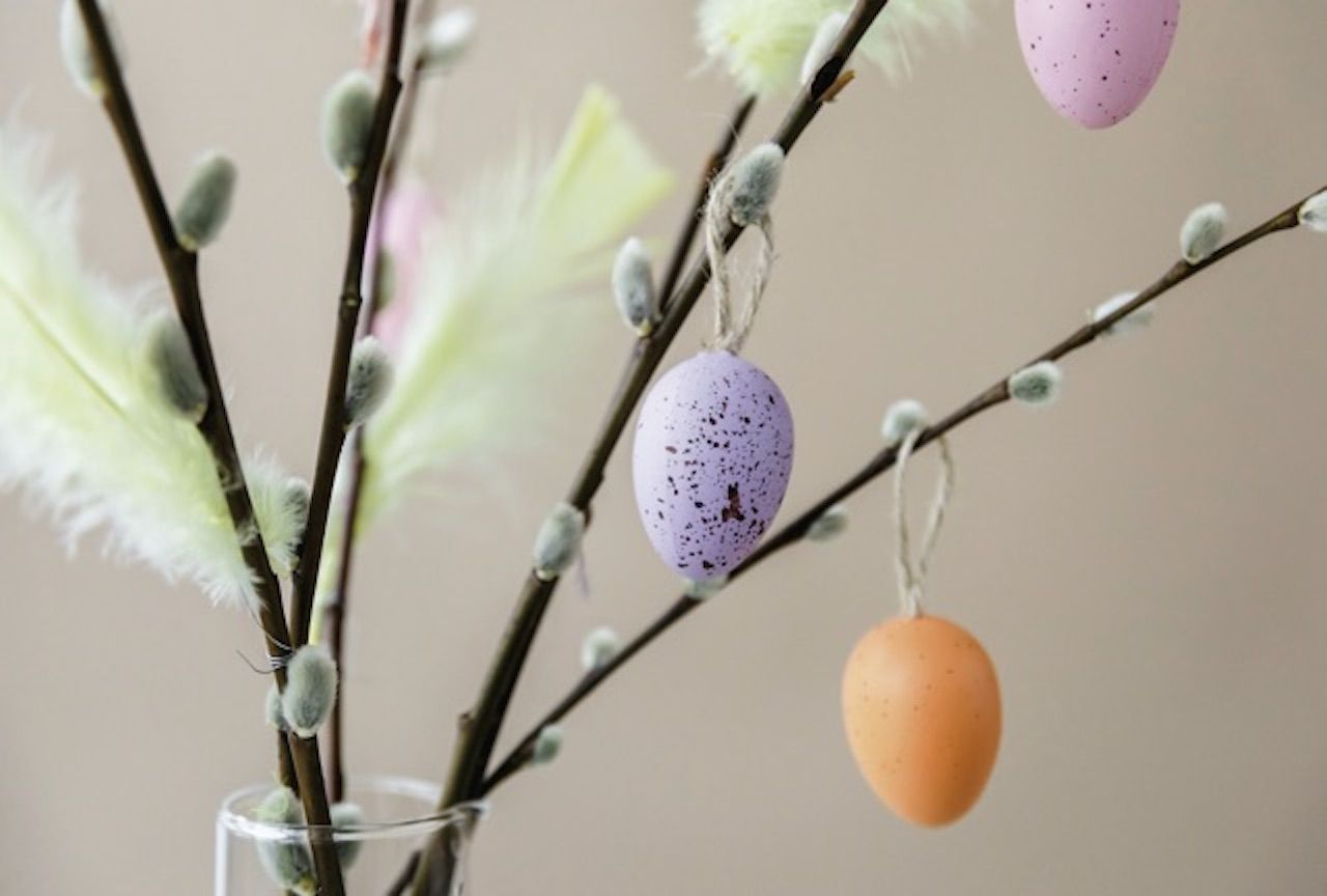 Easter decorated branch