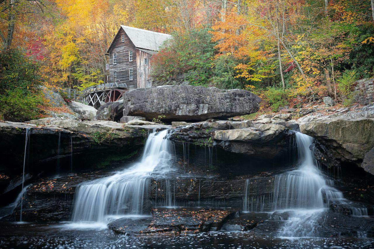 Glade Creek Grist Mill, waterfalls West Virginia