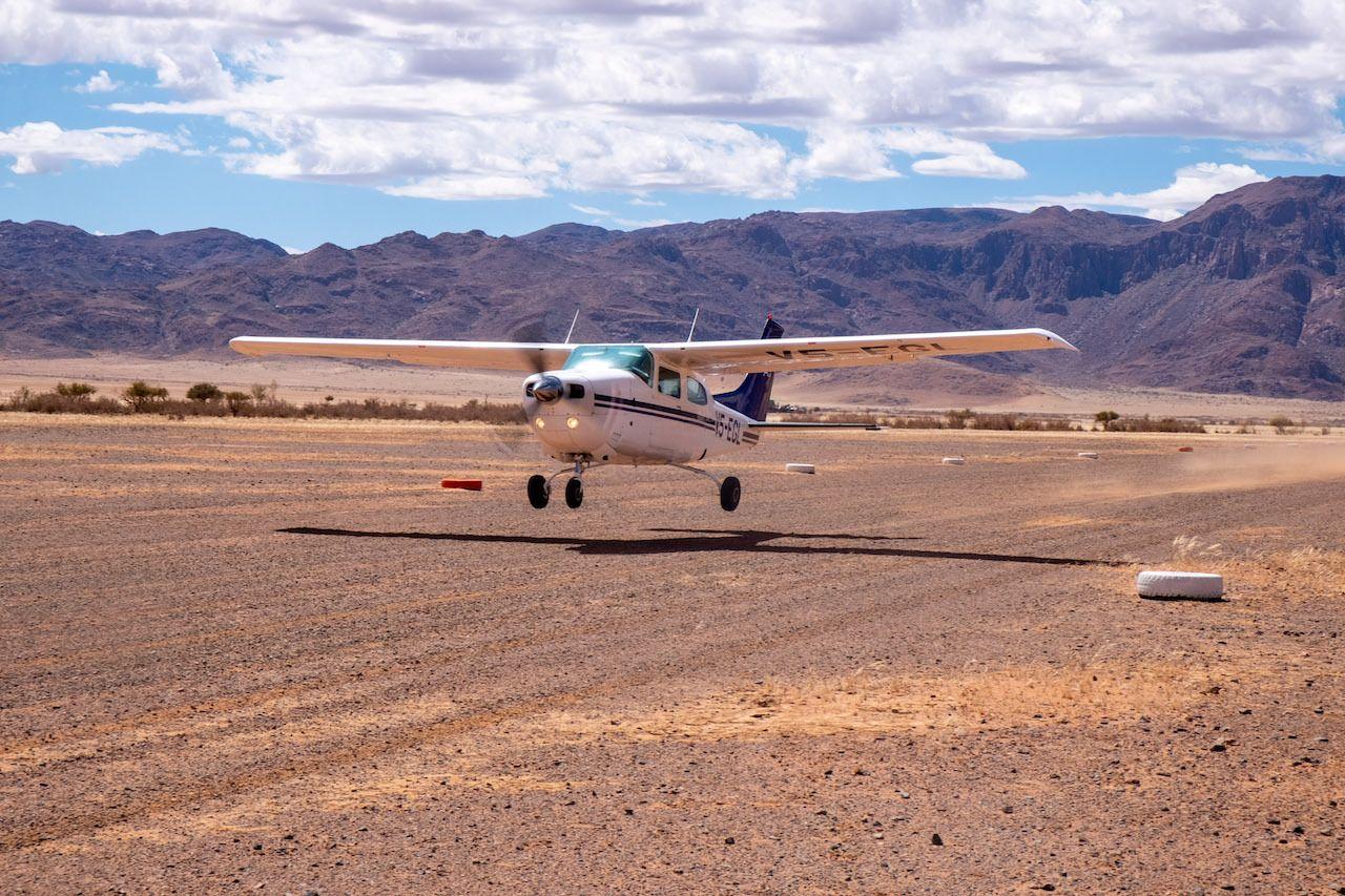 Plane landing Namibia