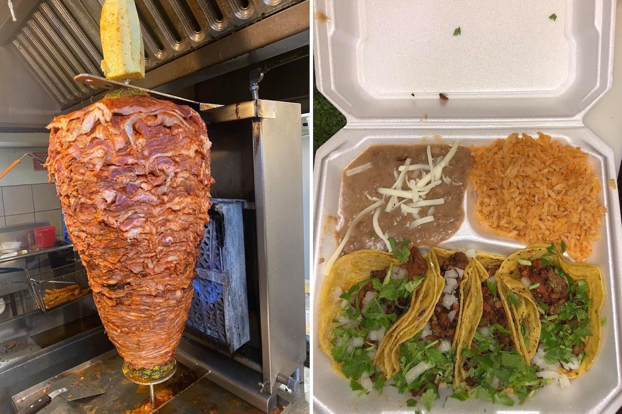 El Camino tacos served wiith rice and beans and meat on spit, Kansas City tacos