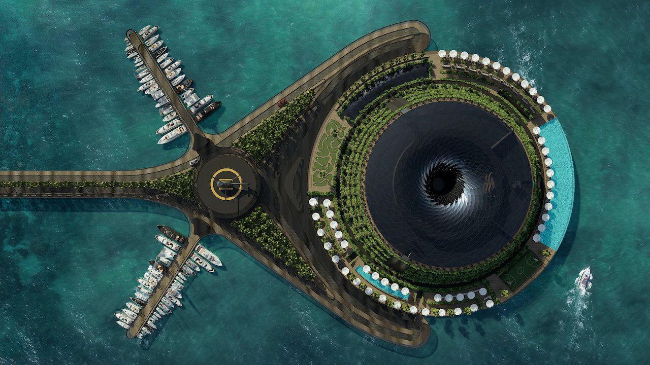 aerial shot Qatar floating hotel