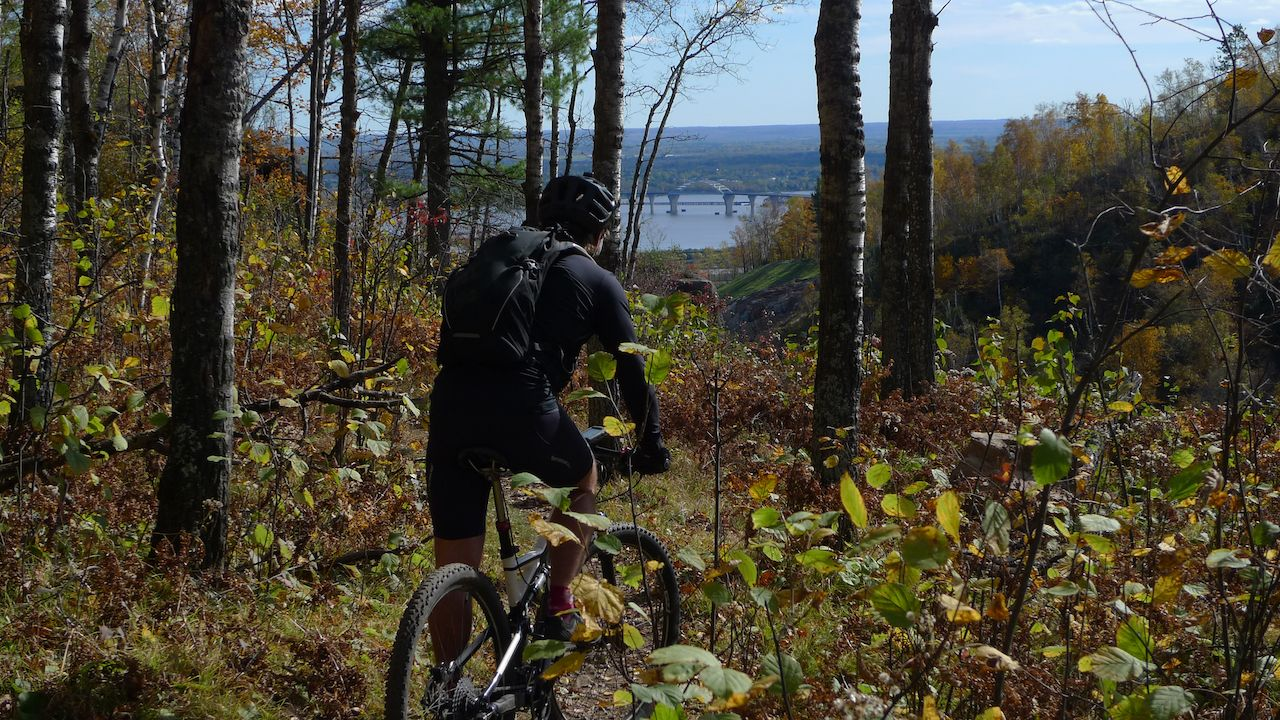 Mountain biker riding Piedmont trail in Duluth, Minnesota, outdoors in Duluth