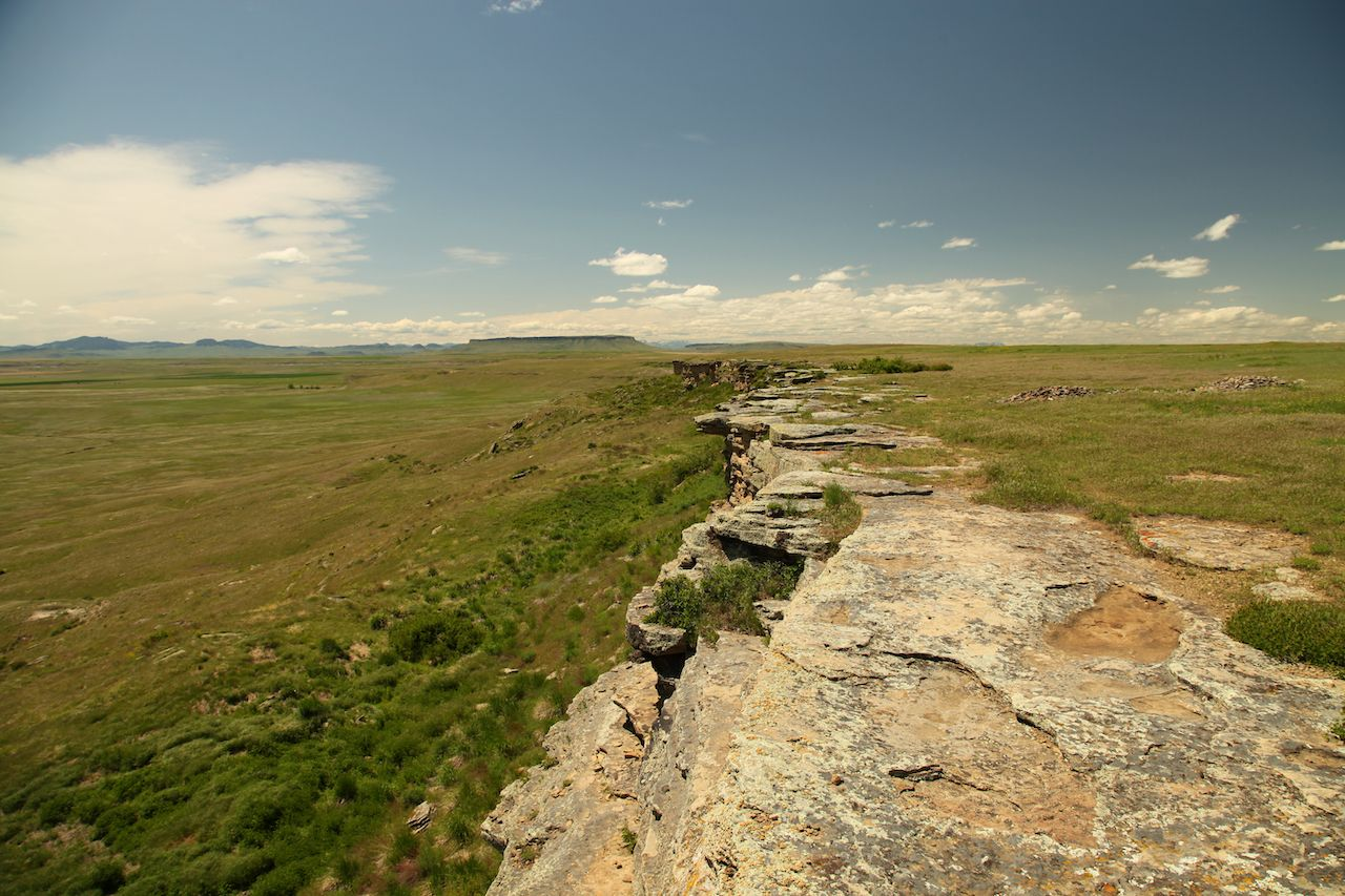 The buffalo jump hill at First Peoples Buffalo Jump State Park in Montana, Native American monuments in Montana