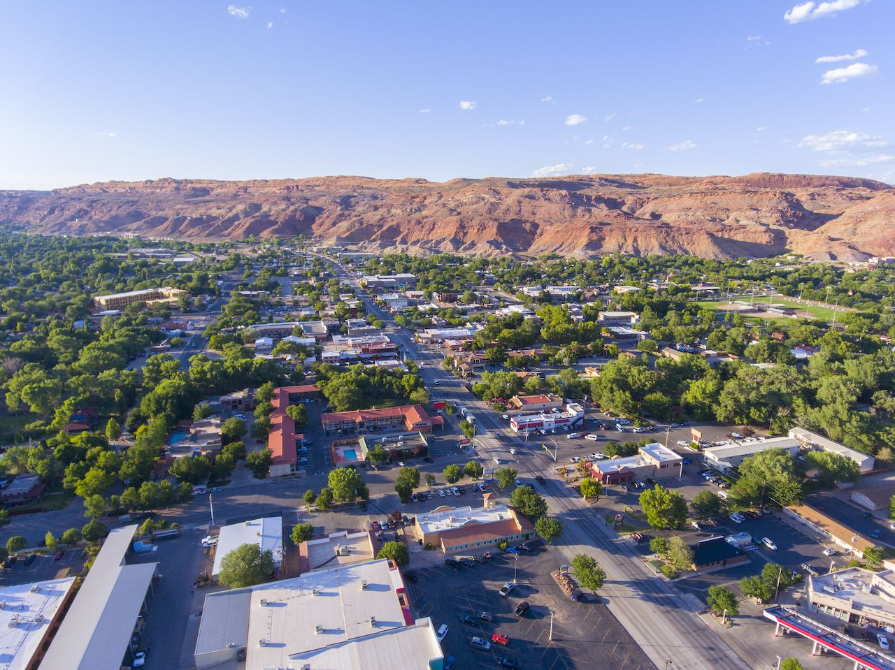 Moab city center and historic buildings aerial view in summer, Utah, USA., utah canyon country