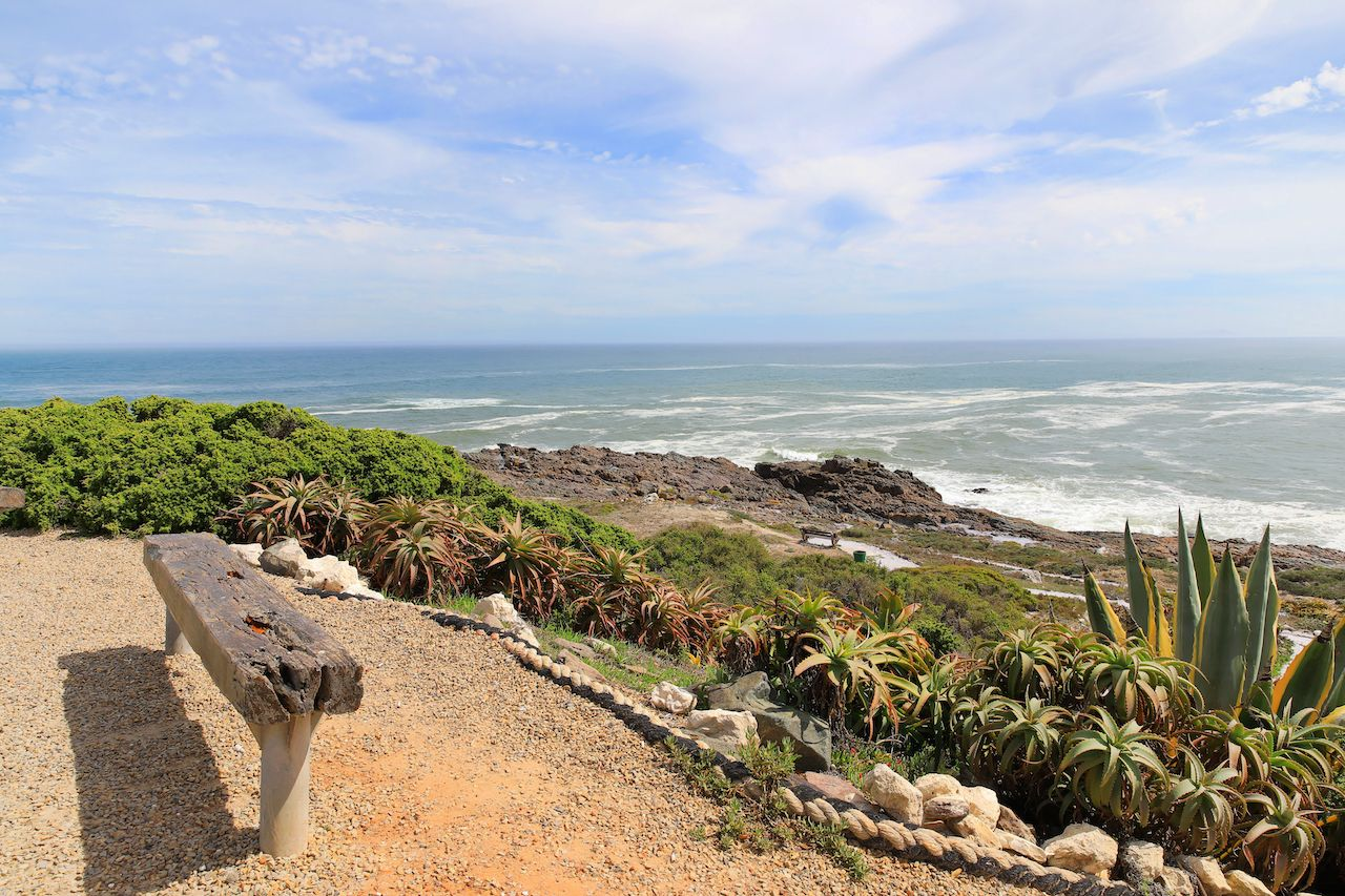 Wooden bench overlooking the tranquil shore line at the popular holiday destination of Yzerfontein, Western cape, scenic views Cape Town