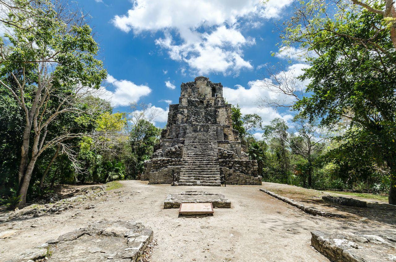 Mayan city of Muyil, located in Quintana Roo, Mexico, Yucatán Peninsula pyramids