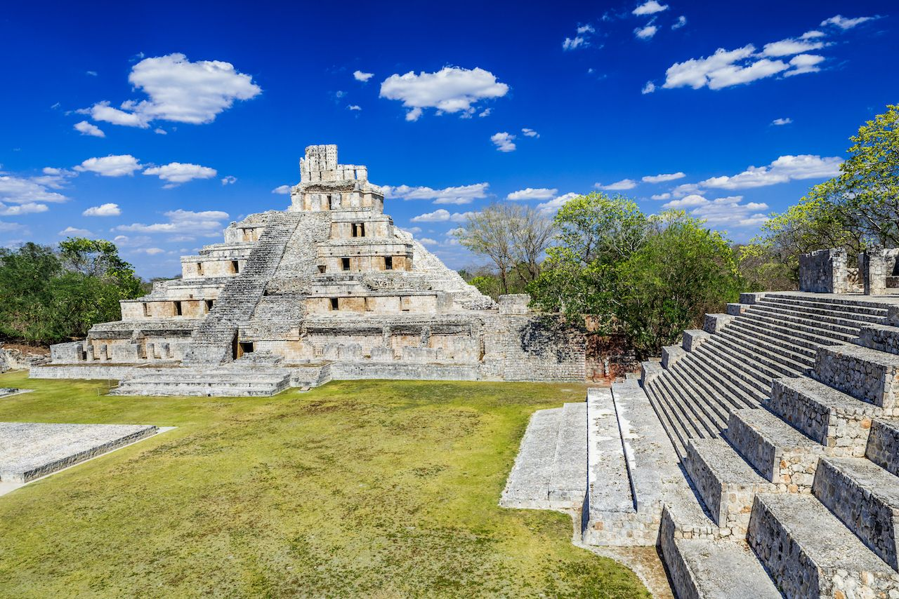 Famous Mayan city Edzna near by Campeche, Mexico, Yucatán Peninsula pyramids