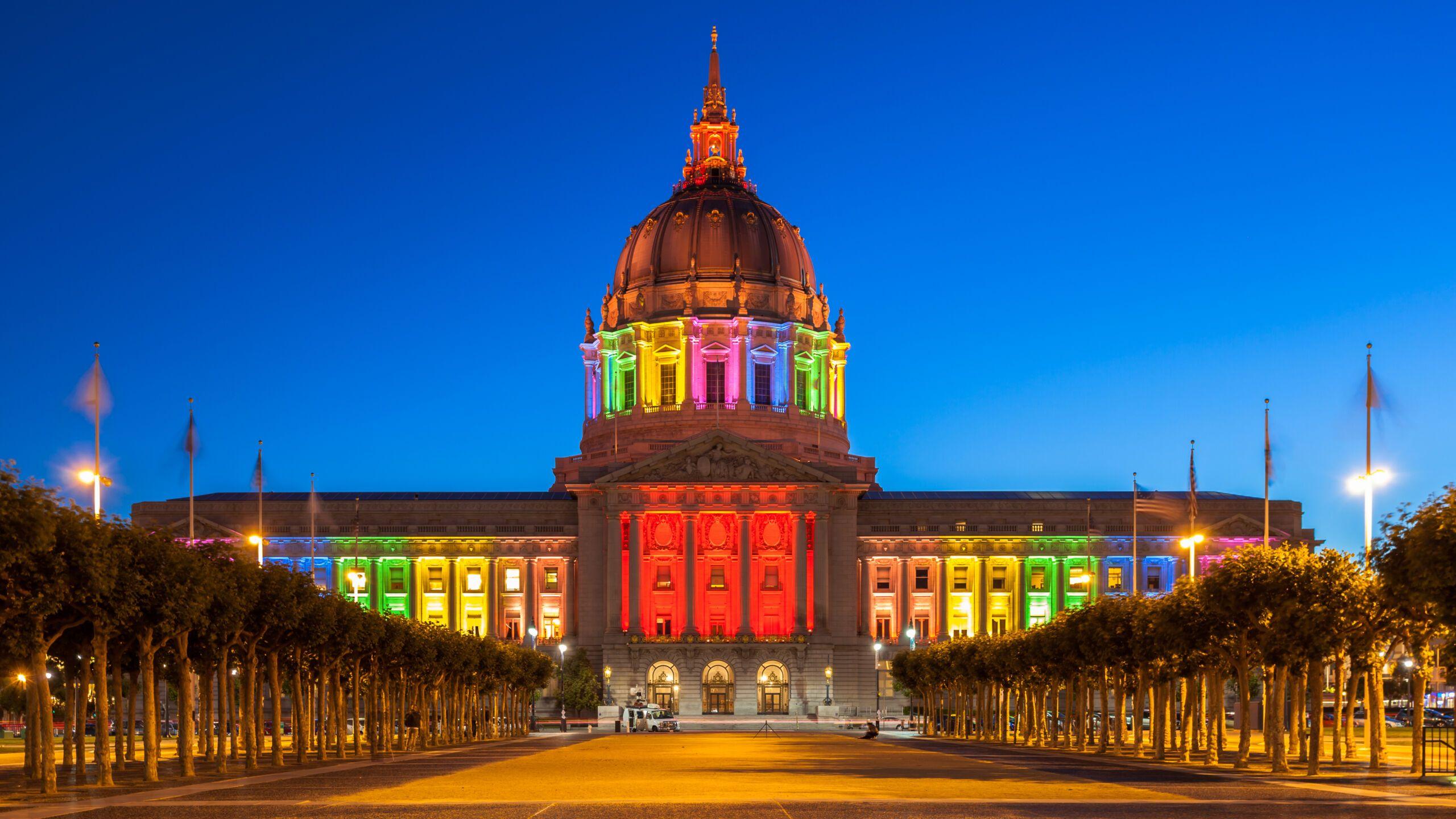 San Francisco City Hall illuminated in rainbow colors