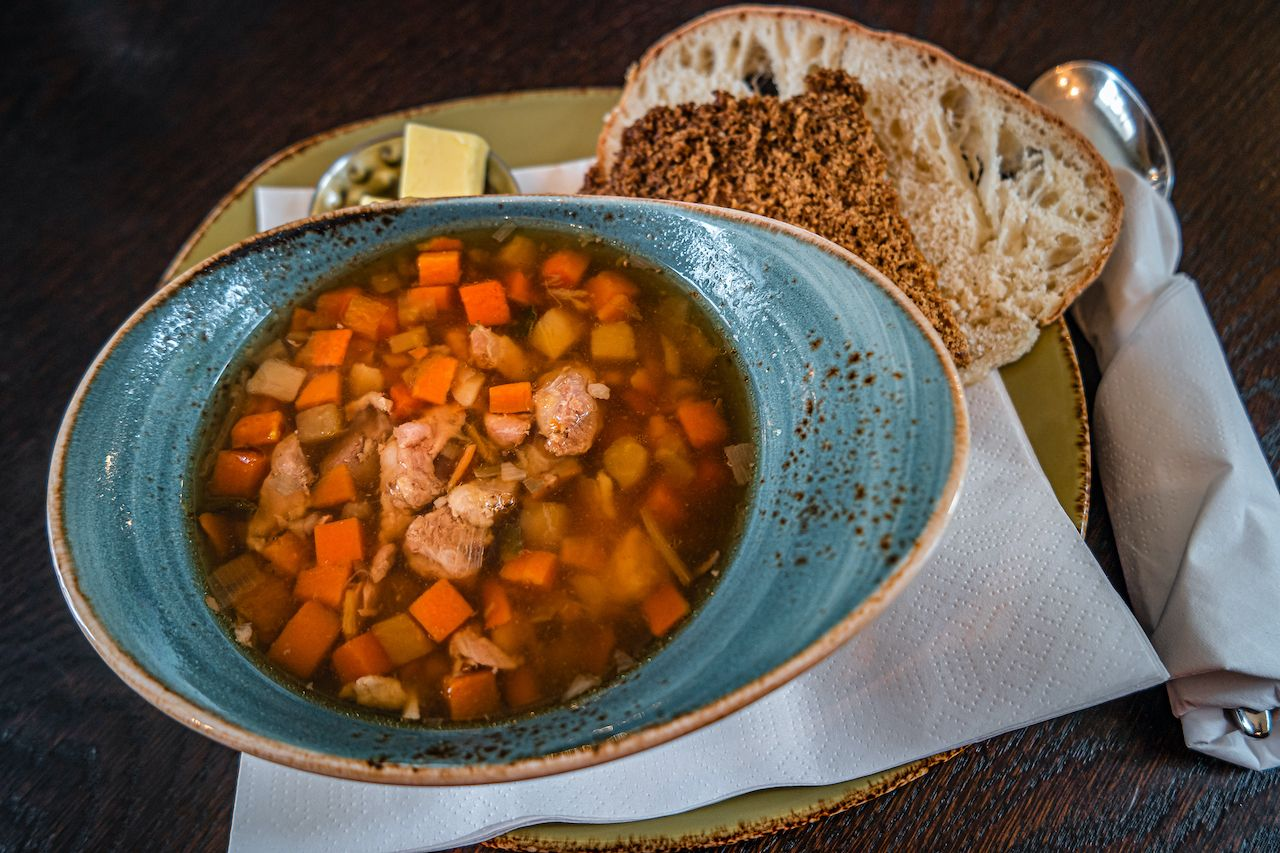 Traditional Icelandic lamb soup, bread and butter, summer time, indoor, Iceland, Icelandic culture