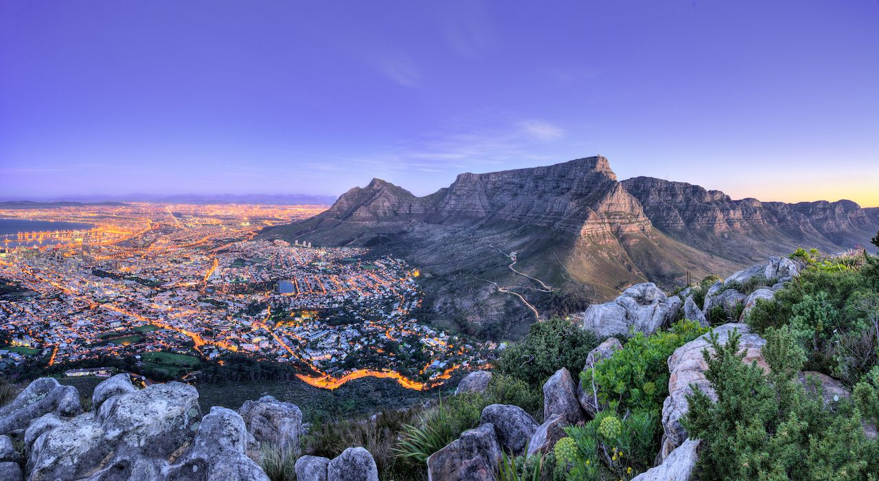 Table Mountain, Lion's head and Twelve Apostles, scenic views in Capetown