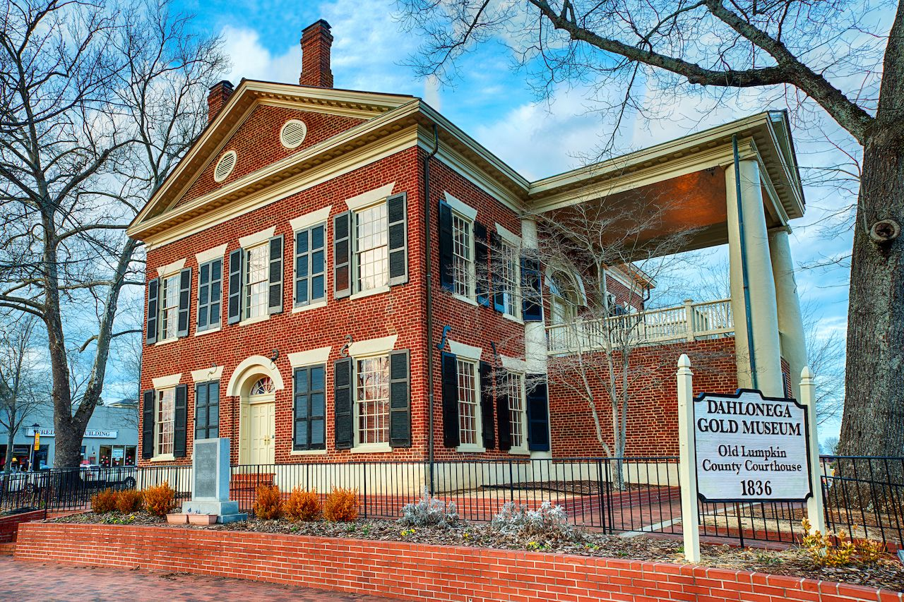 Dahlonega Gold Museum and historic Lumpkin County Courthouse, best towns in Georgia