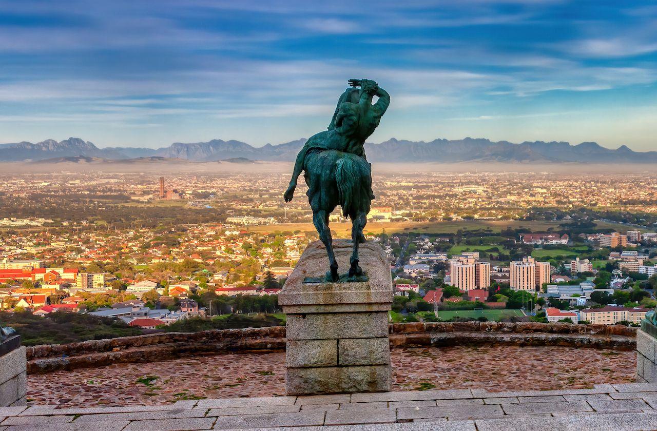 Rhodes memorial statue, scenic views in Cape Town