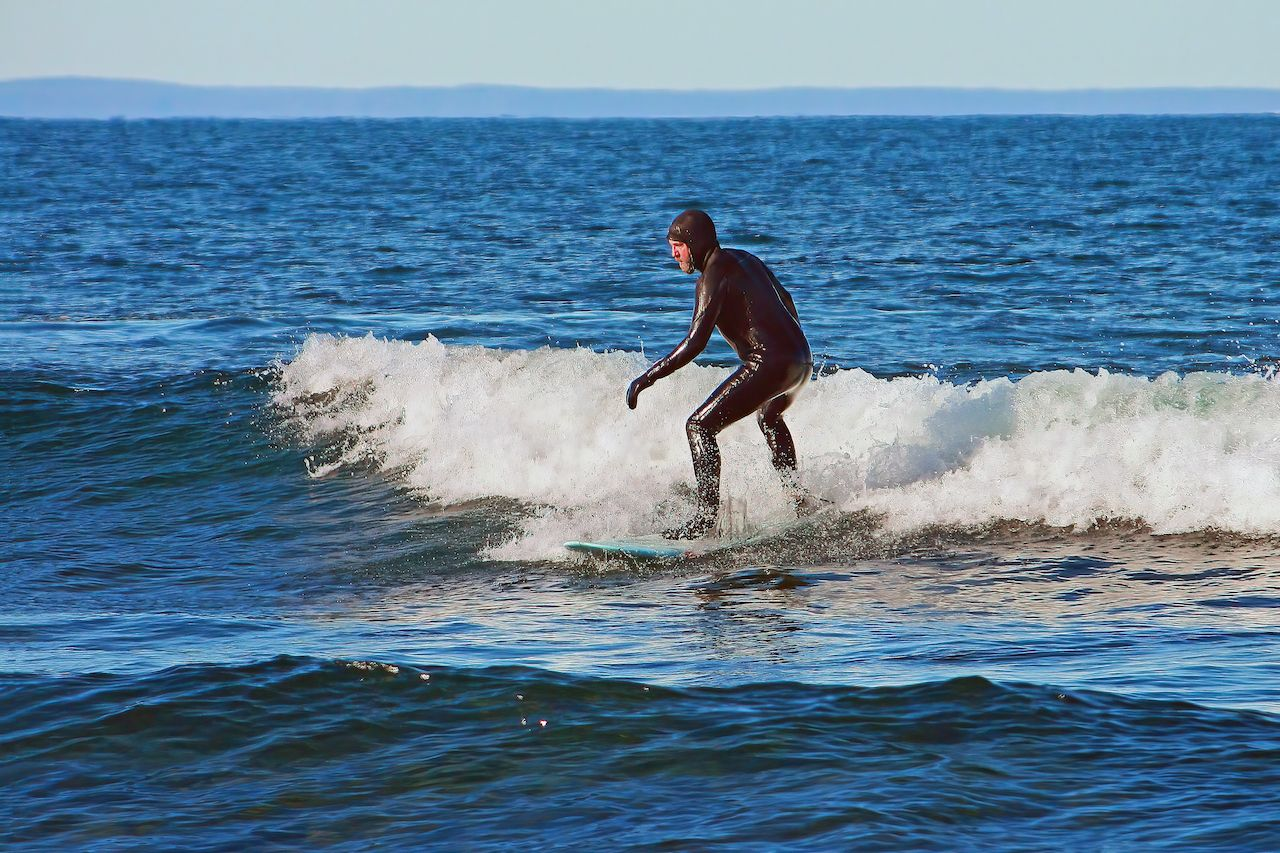 Surfer on Lake Superior near Duluth, Minnesota, outdoors in Duluth