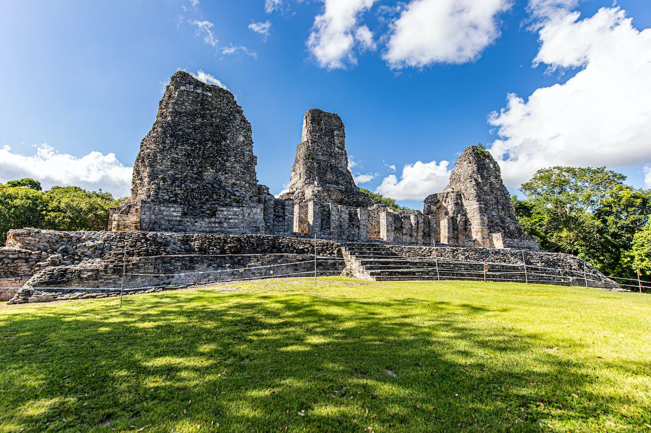 Ancient Mayan temple panoramic view with three pyramids in Xpujil, Mexico, Yucatán Peninsula pyramids
