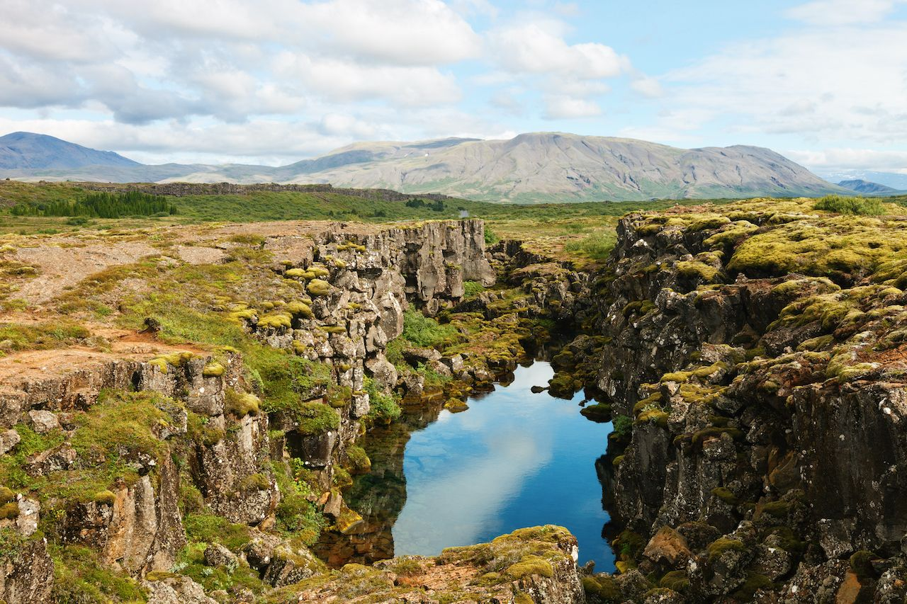 Thingvellir National Park - famous area in Iceland right on the spot where the atlantic tectonic plates meets. UNESCO World Heritage Site, western Iceland, and site of the Althing., Icelandic culture
