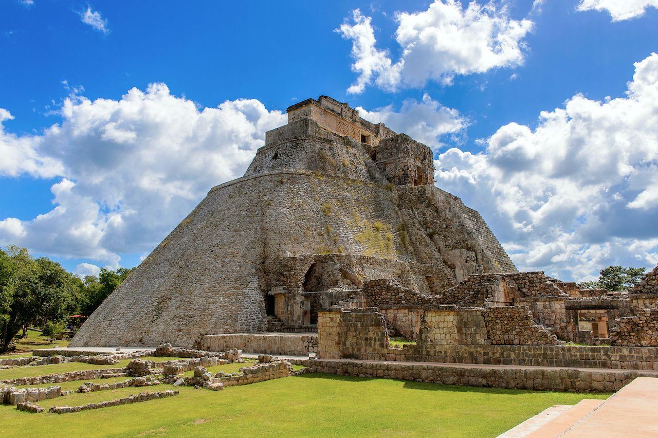 Ruins of Uxmal, an ancient Maya city of the classical period. , Yucatán Peninsula pyramids
