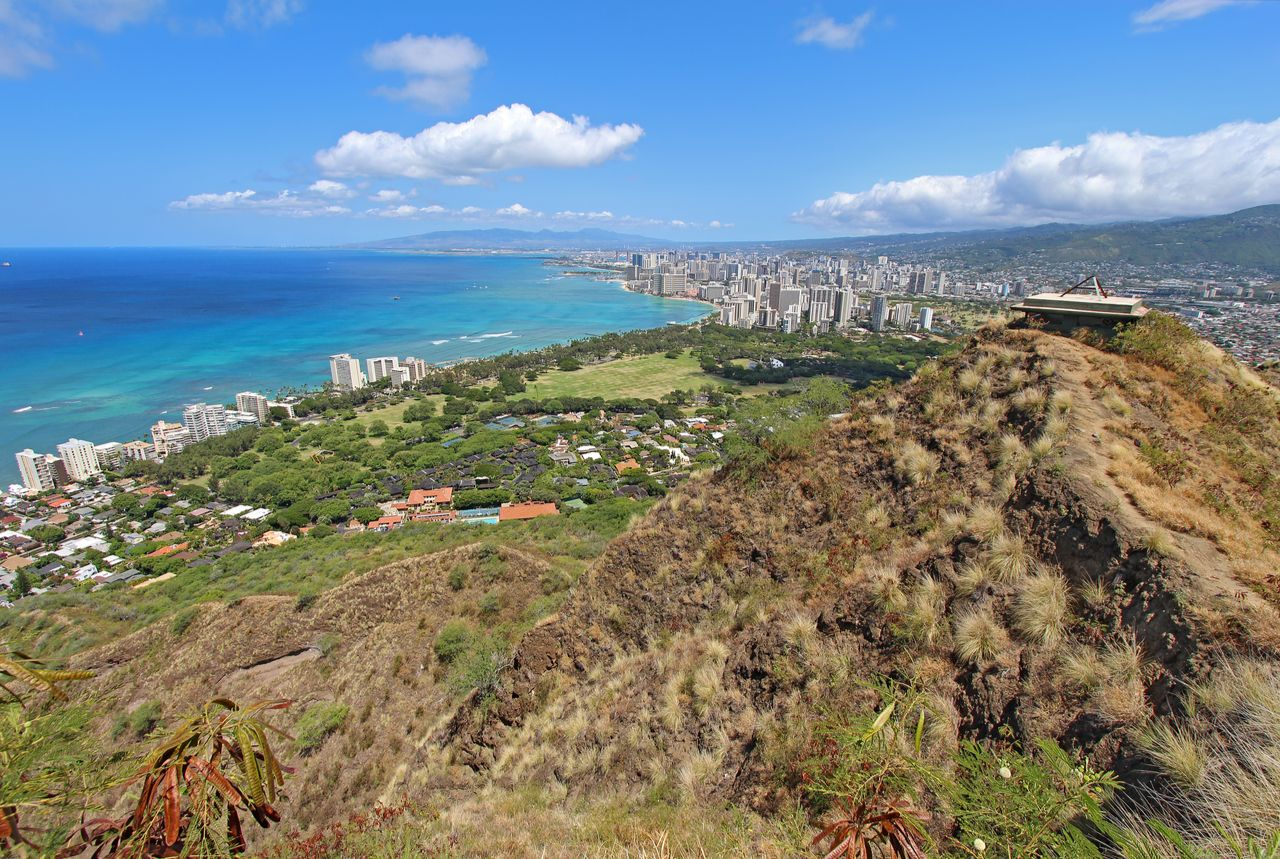 Diamondhead Crater, Waikiki Beach and all of Honolulu in the distance from the top of the trail, best views in Oahu