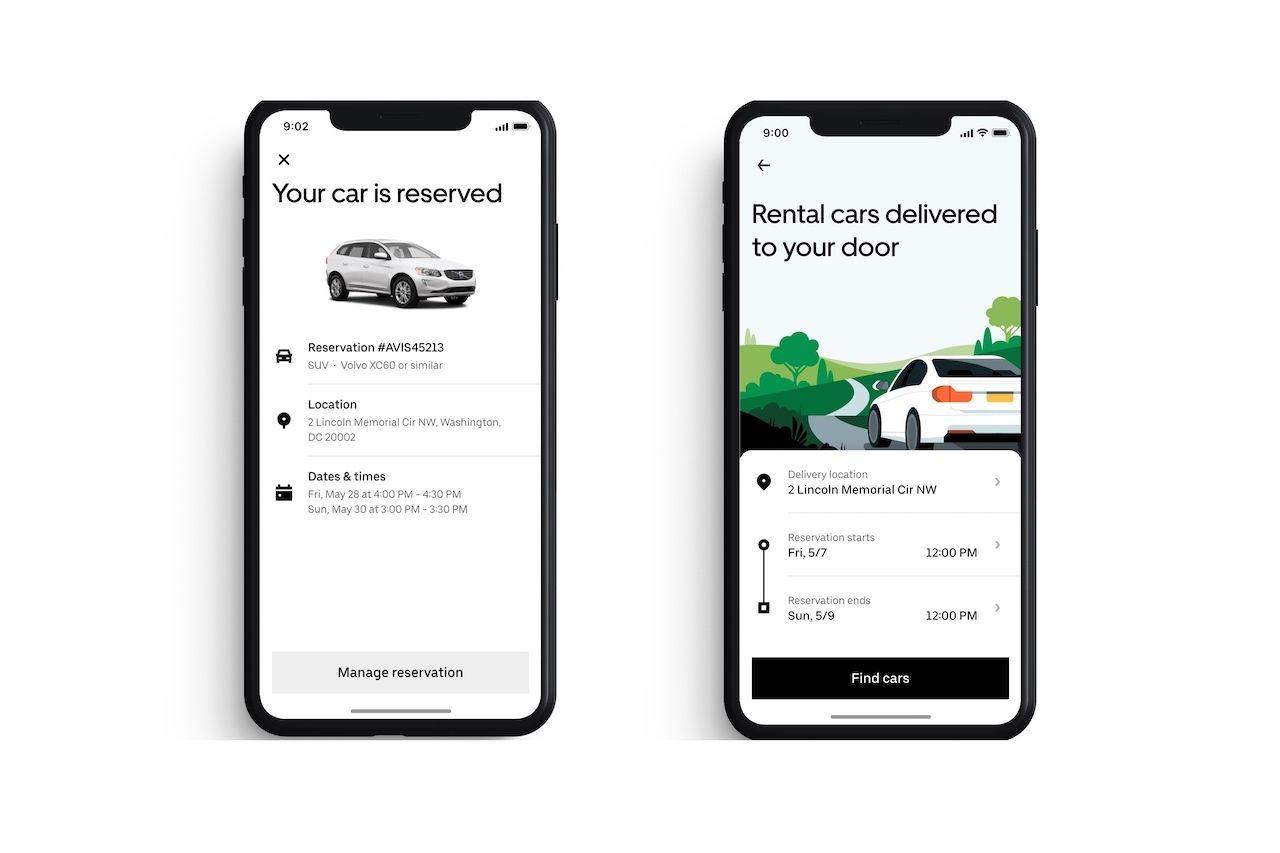 screenshots of ubers new rental car program, uber rent