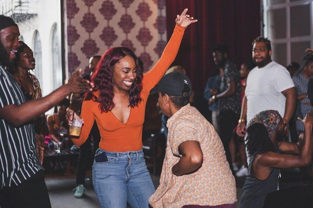 Black femme dancing at party noire, LGBTQ safe spaces US