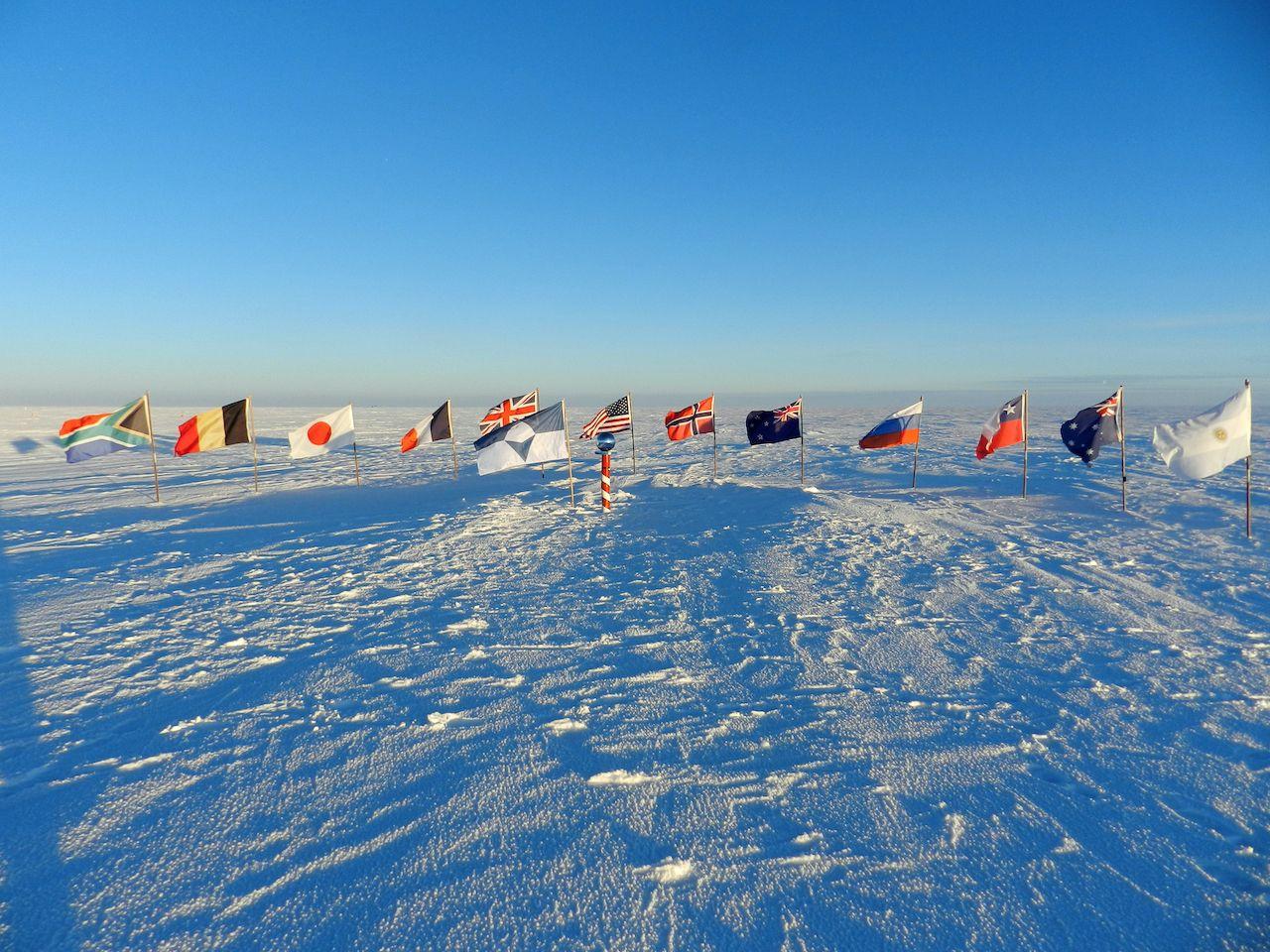 Flags on Antarctica
