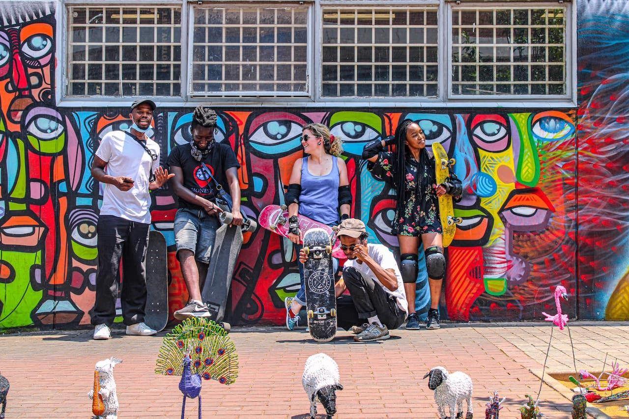 people doing City Skate Tour, Maboneng district Johannesburg