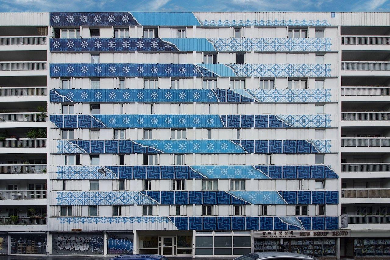 Diogo Machado updates Portuguese azulejo tiles in Paris mural