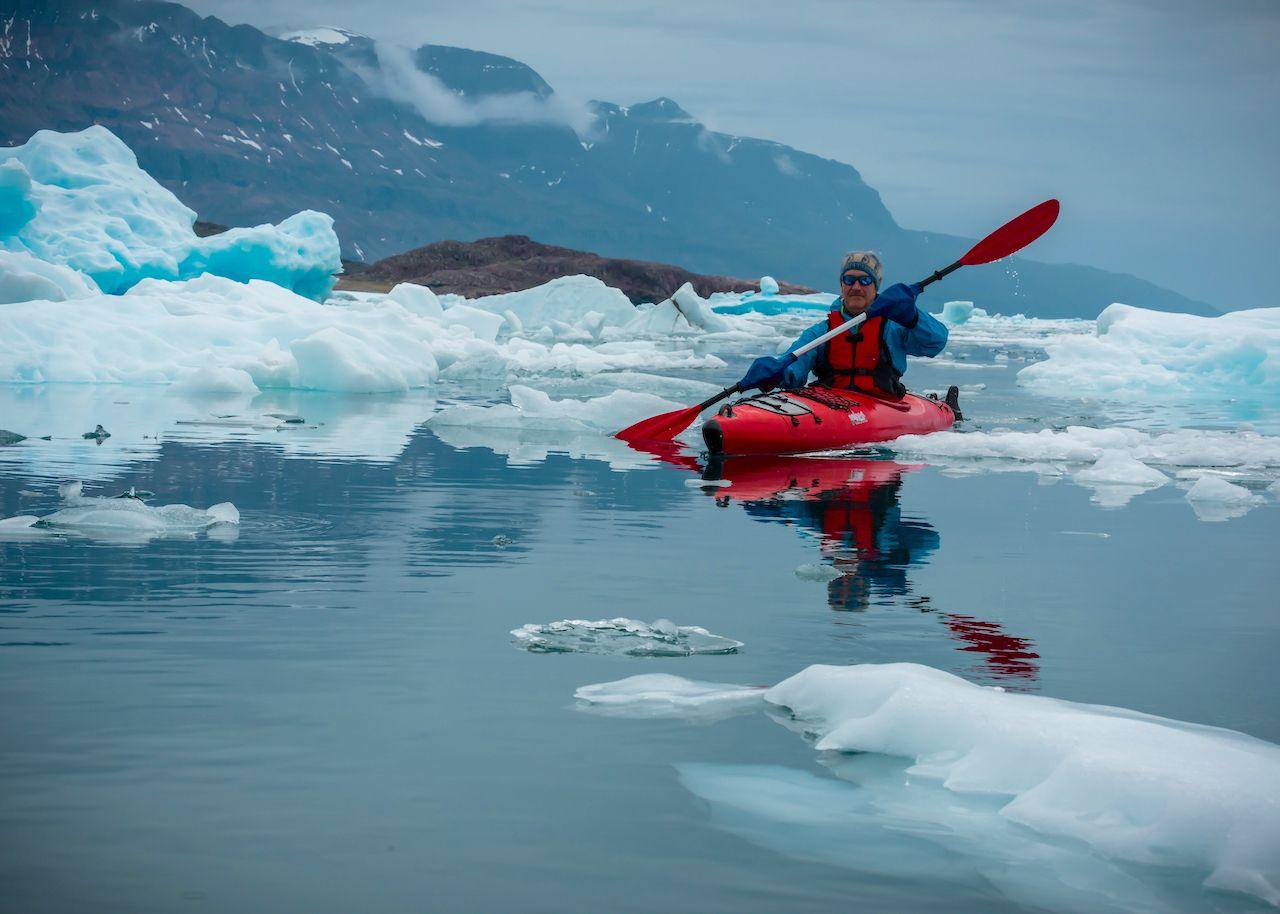 Greenland paddle gray sky
