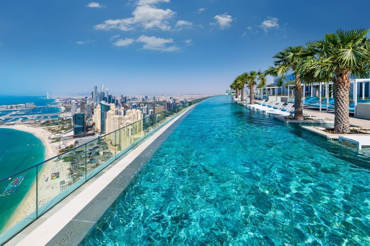 Highest outdoor infinity pool in a building in the world side view, record-breaking pool