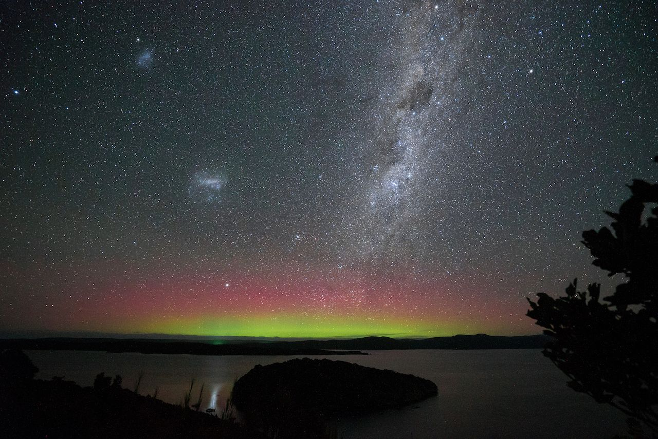 Night sky and southern lights in Stewart island Rakiura New Zealand