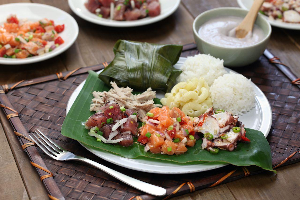 Hawaiian,Traditional,Plate,Lunch,ahi,Poke,lomi,Lomi,Salmon,tako,Poke,kalua,Pork,poi,lau,Lau