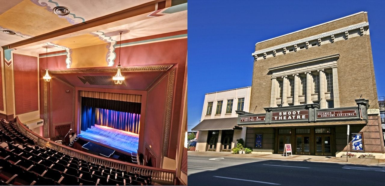 outside and inside of Smoot Theatre West Virginia