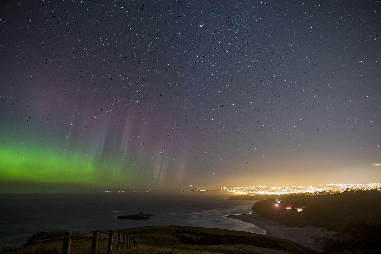 Southern lights in Otago Peninsula Dunedin New Zealand