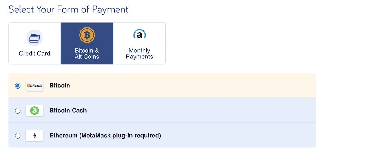 Bitcoin payment online