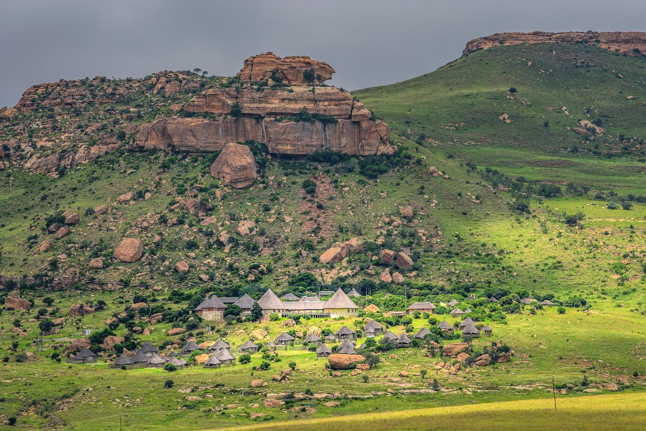 Traditional houses in Golden Gate Highlands national park near Clarens, South Africa, small towns in South Africa