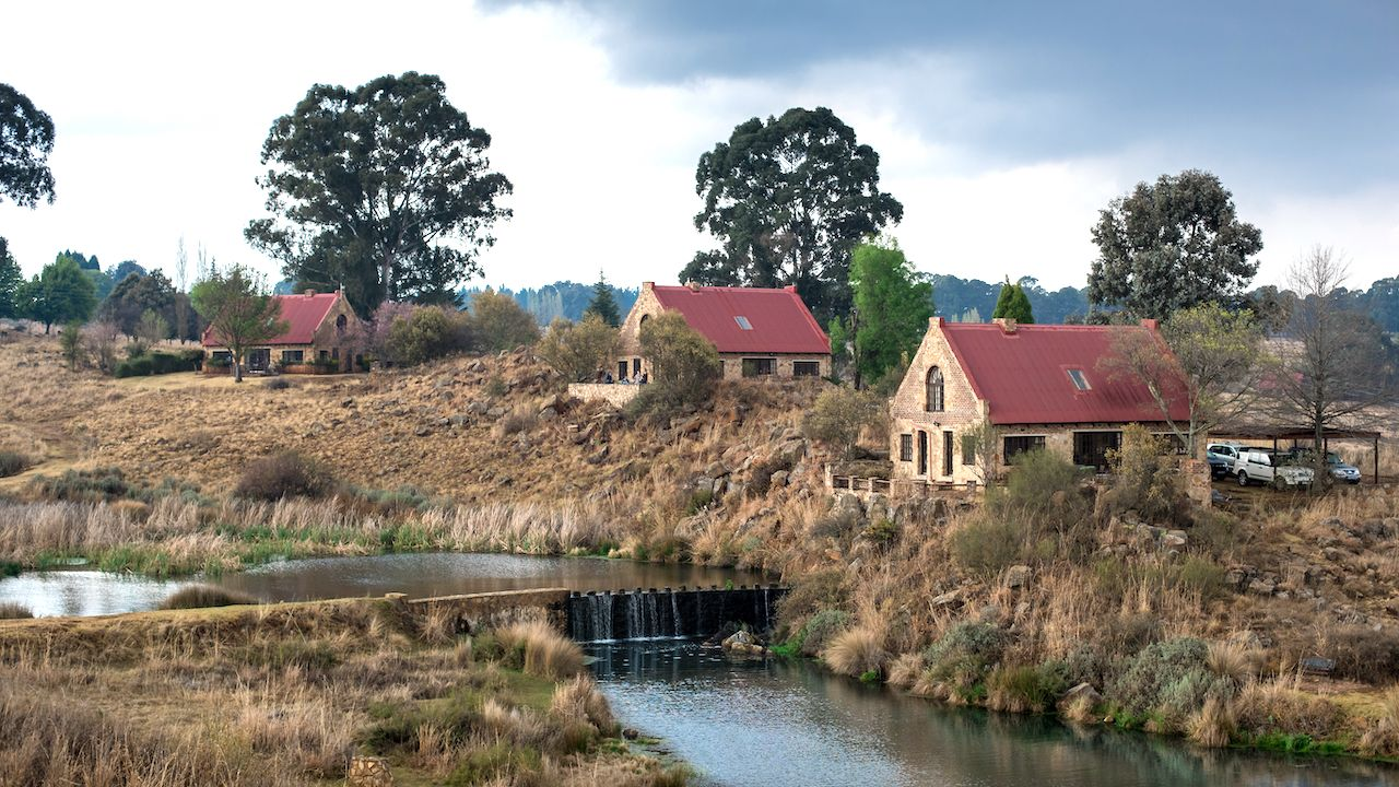 Fishing cottages on dams, small towns in South Africa