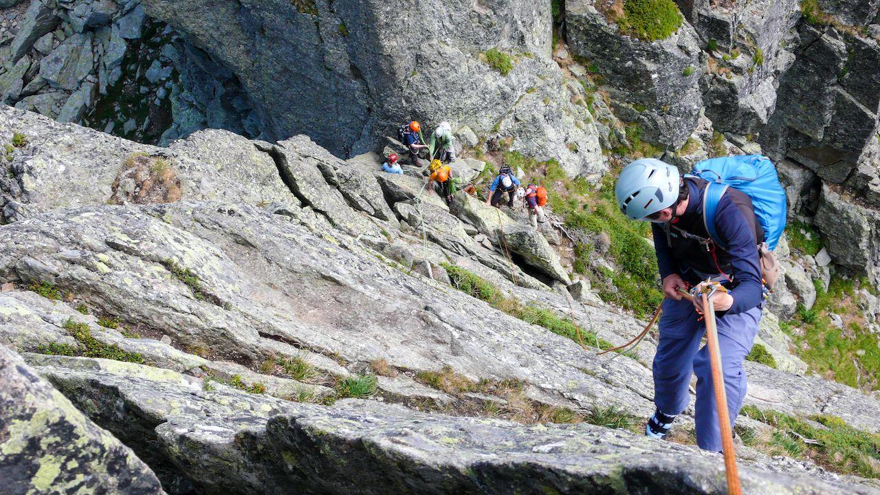 Rock  Climbers, climbing in Chamonix