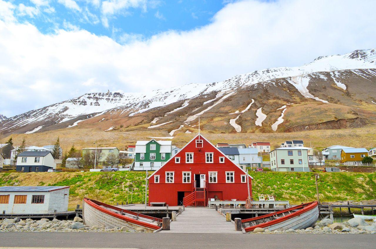 Red house, rustic, wood, fishing village, near Herring Era Museum in Siglufjörður, Iceland,villages in iceland