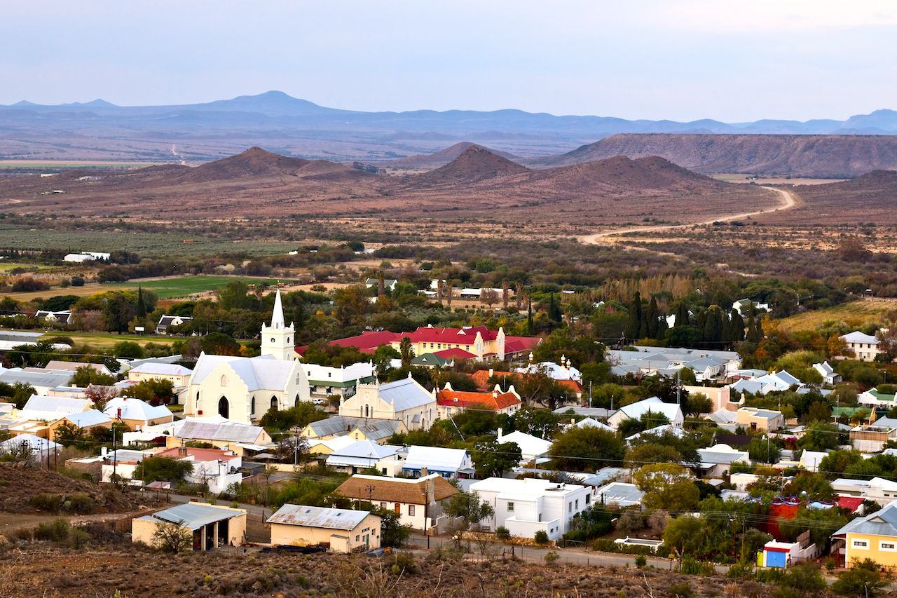 A landscape image of Prince Albert town in the Western Cape of South Africa., small towns in South Africa