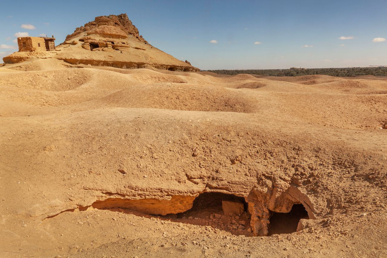 The Mountain Of The Dead Ancient Egyptian Cemetery In Siwa, Siwa Oasis, Egypt