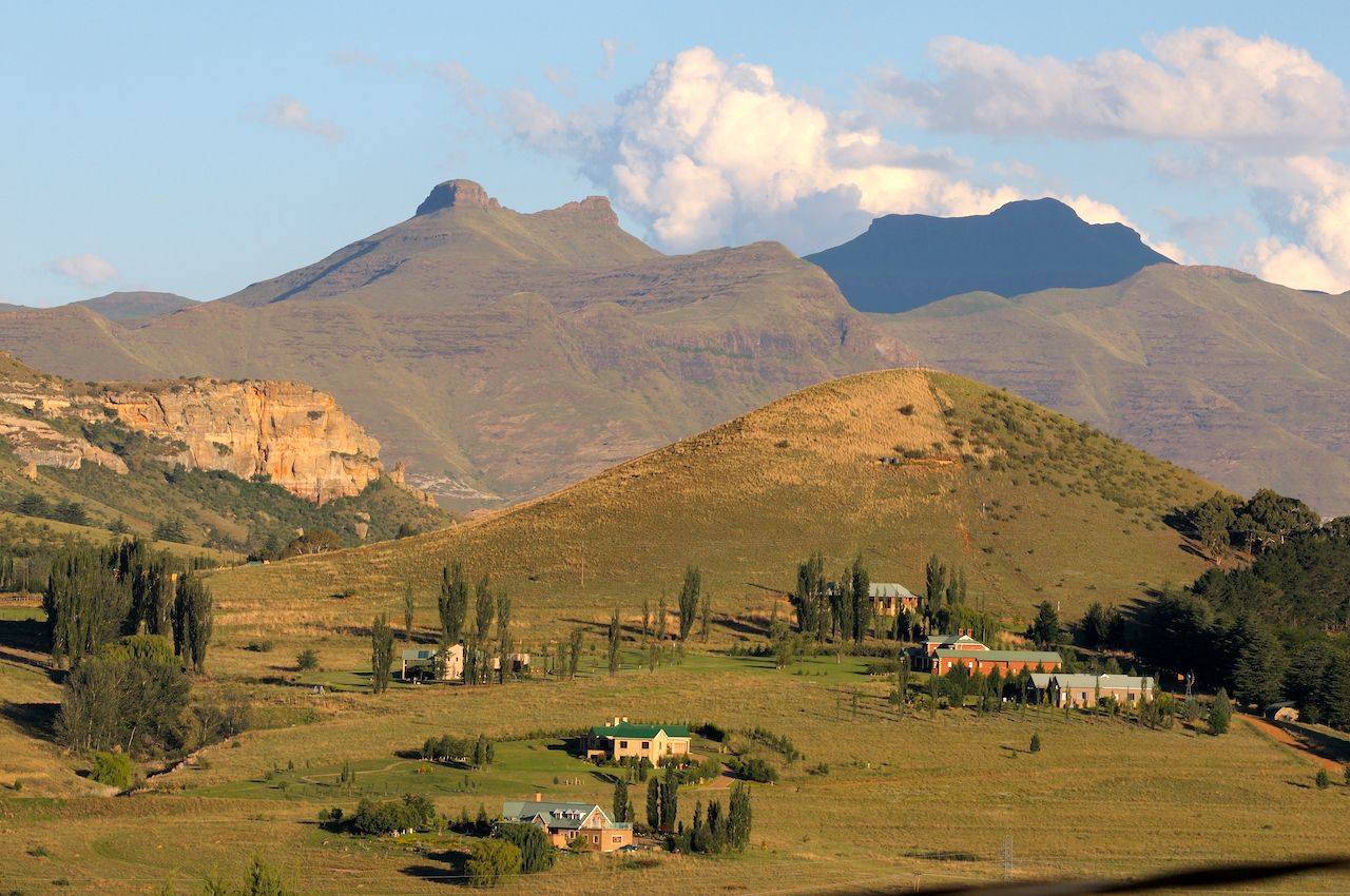 Late afternoon landscape near Clarens, South Africa, small towns in South Africa