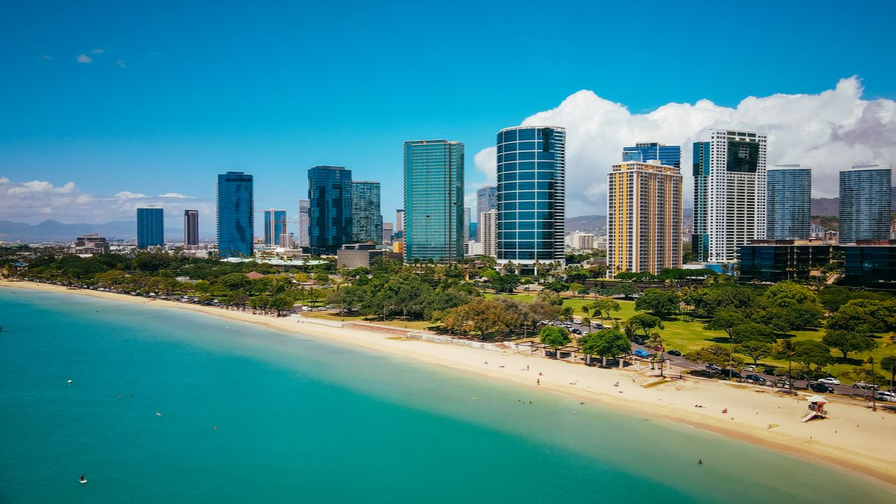 Aerial Ala Moana Beach Park,Honolulu, Oahu, Hawaii, Oahu beaches for families