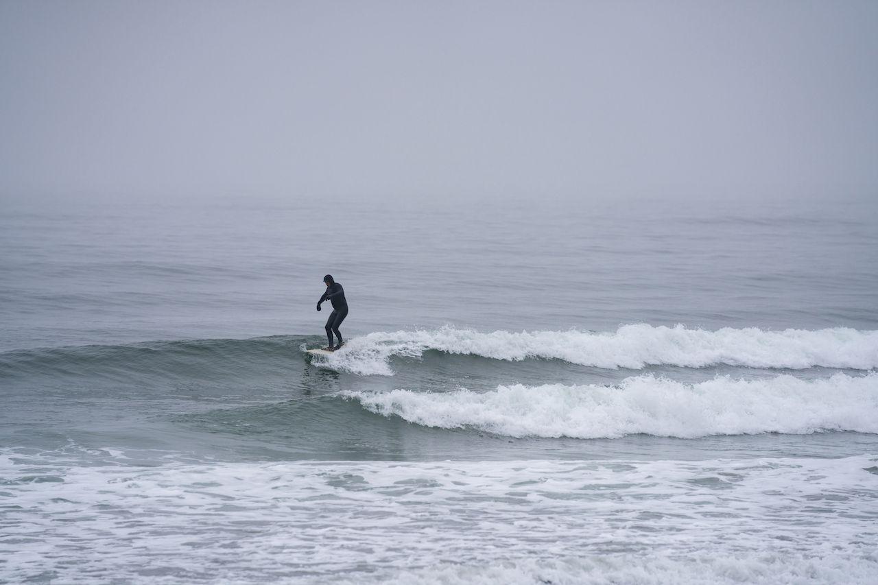 York,,Me,,Usa,-,December,12,,2020:,Man,Surfing,In