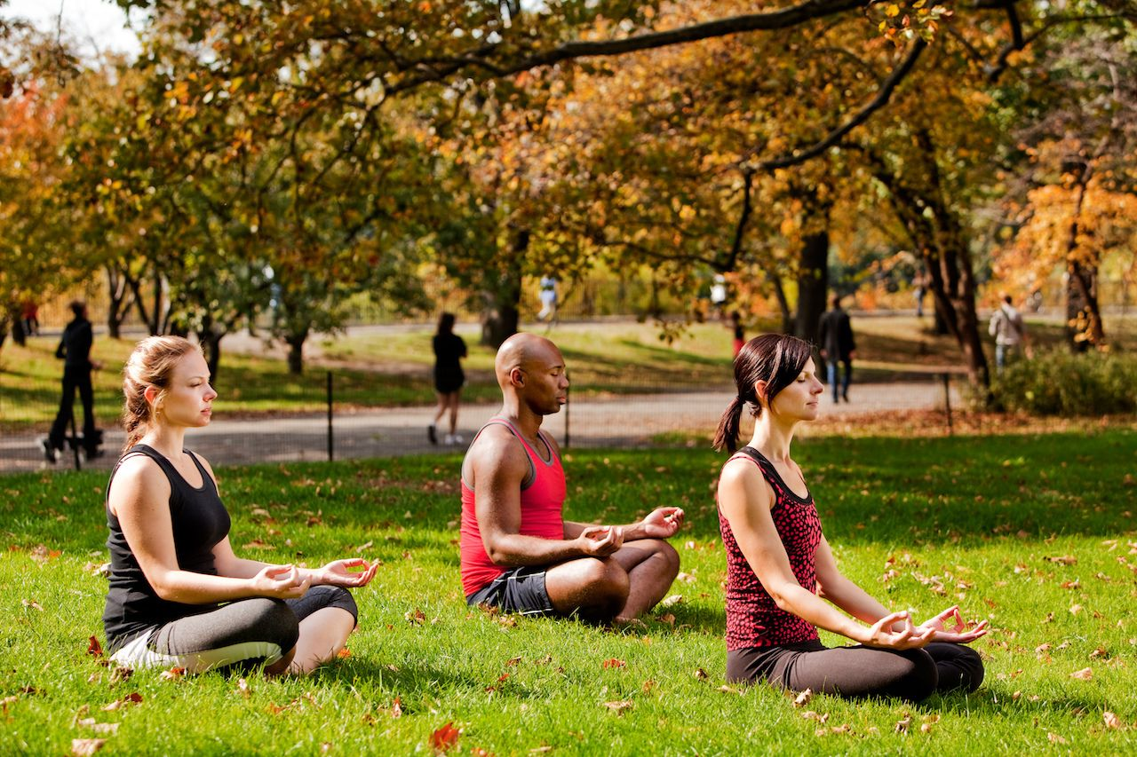 A,Group,Of,People,Relaxing,With,Meditation,In,A,City