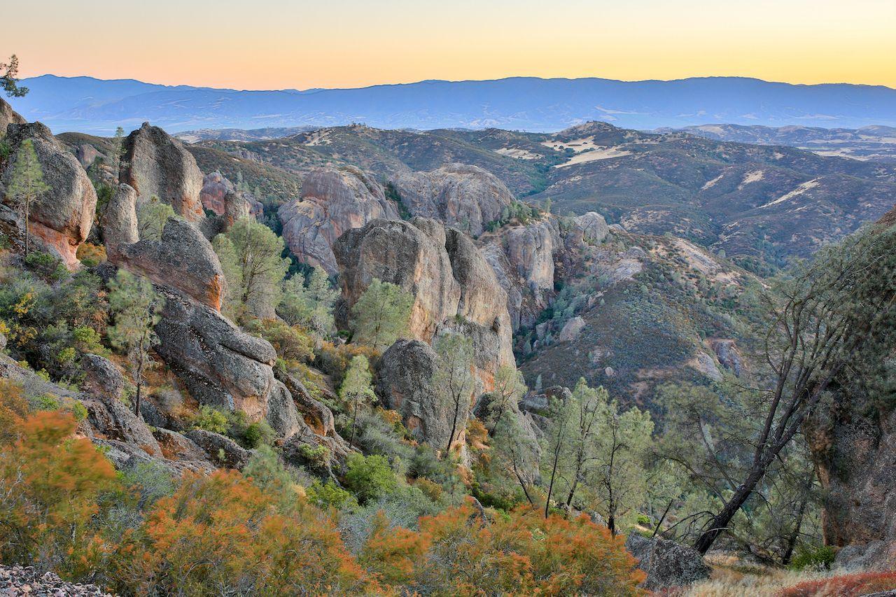 Twilight,Over,Pinnacle,Rock,Formations.,Pinnacles,National,Park,,San,Benito