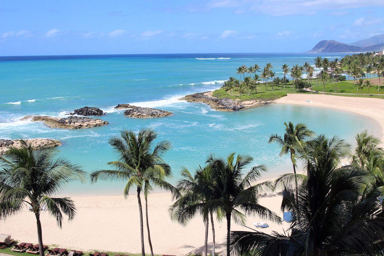View of the Ko Olina beach resort and the Naia Lagoon, Oahu, Hawaii, USA, Oahu beaches for families